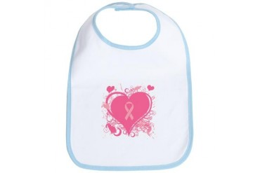 Pink Hearts and ribbons Breast cancer Bib by CafePress
