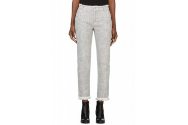 T By Alexander Wang Grey Cotton Burlap Frayed Cut off Jeans