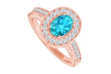 Created Blue Topaz and CZ Halo Ring in 14K Rose Gold Vermeil