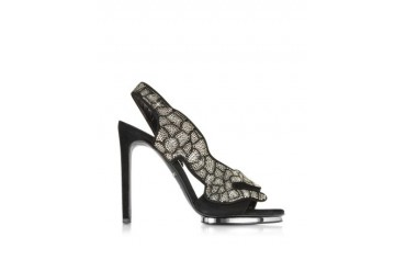 Black Suede and Crystals Panther Sandal
