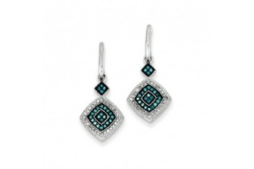 Blue amp White Diamond Double Square Dangle Earrings in Sterling Silver
