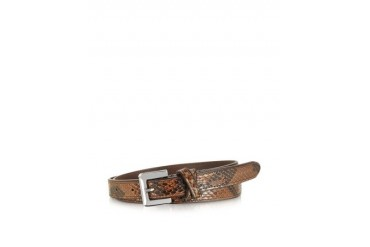Brown Python Leather Skinny Women's Belt