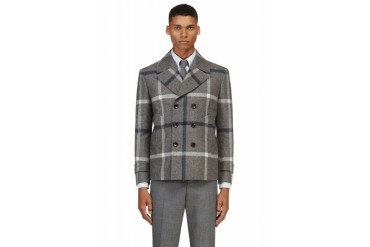Thom Browne Grey And Navy Wool Tartan Peacoat