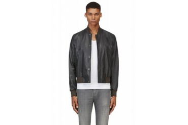 Paul Smith Slate Blue Leather Bomber Jacket