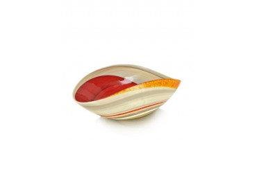 Cartoccio - Medium Red and Ivory Marbled Murano Glass Folded Bowl
