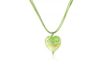 Mare - Lime Murano Glass Heart Pendant Necklace