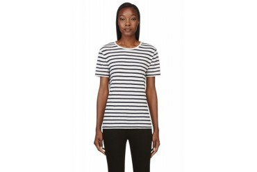 T By Alexander Wang White And Navy Striped T shirt