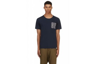 White Mountaineering Navy Patterned Trim T shirt