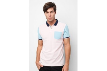 Private Stitch Contrast Pocket and Sleeves Polo T-Shirt