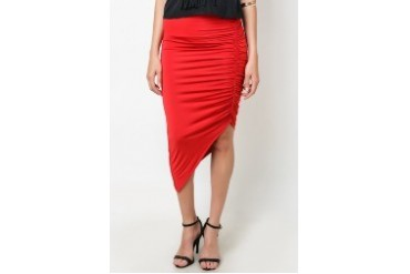 Shirred Side Asym. Skirt