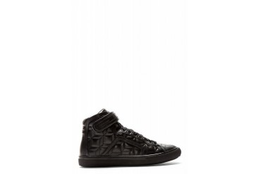 Pierre Hardy Black Leather 3d Embossed Cube Sneakers
