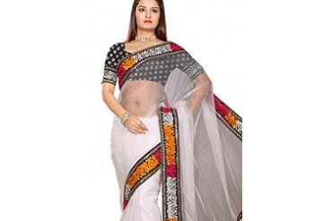 Adorning Look White Net Saree
