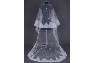 One-tier Cathedral Bridal Veils With Lace Applique Edge (006041509)