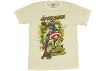 Marvel Comics Captain America Justice Never Sleeps T-Shirt Sheer