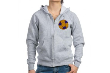 Purple and Gold Soccer Sports Women's Zip Hoodie by CafePress