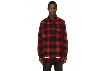 Off white Red And Black Flannel Plaid Virgil Abloh Edition Shirt