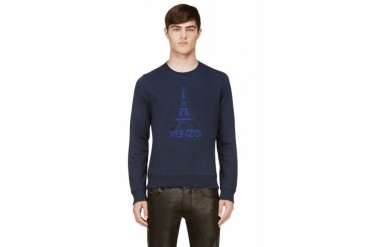 Kenzo Navy Eiffel Tower Embroidered Sweatshirt