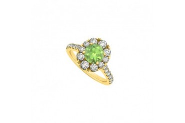 2 Carat Round Peridot and Cubic Zirconia 14K Yellow Gold Engagement Ring