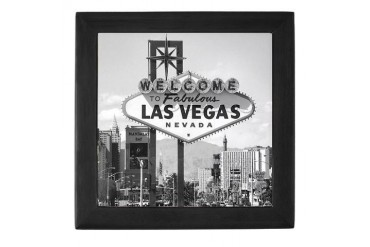 Las Vegas Strip Sign Black White Black Keepsake Box by CafePress