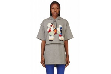 3.1 Phillip Lim Grey Layered And Embroidered Poodle Tunic Hoodie