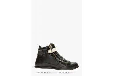 Giuseppe Zanotti Black Grained Leather Toky High top Sneakers