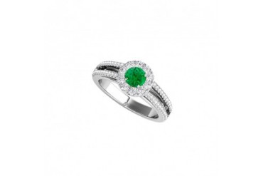 White Gold Halo Engagement Ring with CZ and Emerald