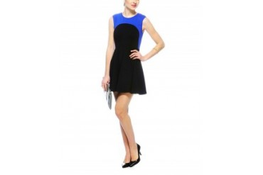 Eight Sixty Sleeveless Colorblock Dress With Circle Skirt Black, L