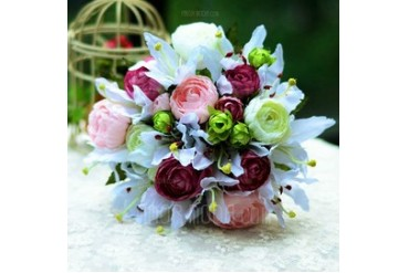 Vivifying Round Satin Bridal Bouquets (124032044)