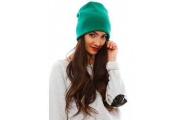 Barca Slouchy Hat with Fleece Lining in Green - designed by Plush