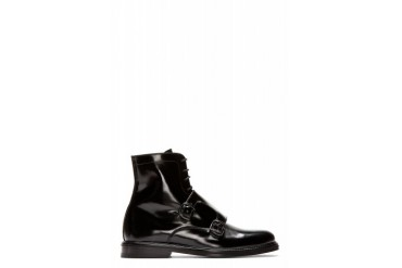 Carven Black Leather Monk Strap Boots