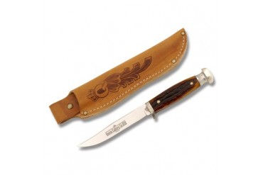 Queen Deer Knife #92 with Amber Carved Stag Bone Handle
