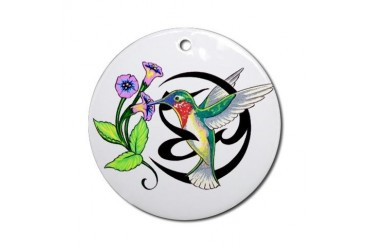 Hummingbird Tribal Ornament Round Art Round Ornament by CafePress