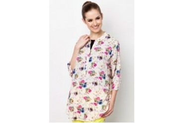 Ethnic Chic Ayu Cotton Flowery Blouse