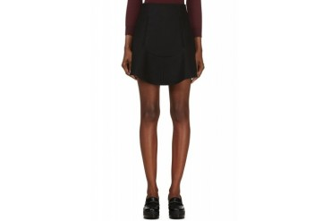 Carven Black Compact Wool Skirt