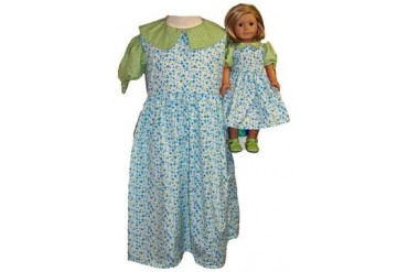 Matching Girl Doll Clothes Blue Green Dress Size 5