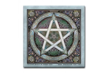 Silver Pentacle Tile Coaster