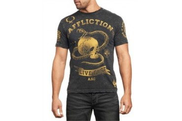 Affliction T-shirt - Affliction Snake Eyes Crewneck T-shirt