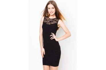 LASH Textured Bodycon Dress With Lace