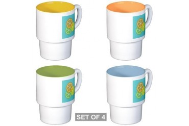 Fruta: Naranja Lima Limon Stackable Mugs Spanish Stackable Mug Set 4 mugs by CafePress