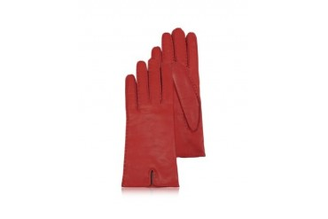 Women's Cashmere Lined Red Italian Leather Gloves