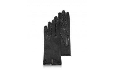 Women's Stitched Cashmere Lined Black Italian Leather Gloves