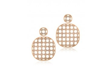 Seventies - 18 KT Yellow Gold Over Bronze Earrings with Glitter