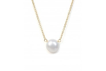 Dogeared 'I Love Mom' Pearl Necklace Gold