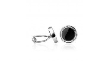 Onyx Silver Plated Round Cufflinks