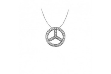 Cubic Zirconia Circle Pendant in 14K White Gold 0.50 CT TGW