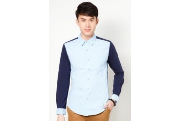 Long sleeve Chambray Shirt With Contrast Jersey Knit Sleeve