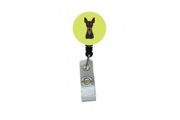 Checkerboard Lime Green Min Pin Retractable Badge Reel