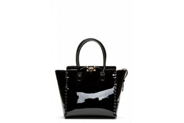 Valentino Black Patent Leather Studded Trapeze Tote