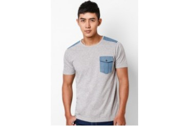 EZRA by ZALORA Denim Flap Pocket Tee
