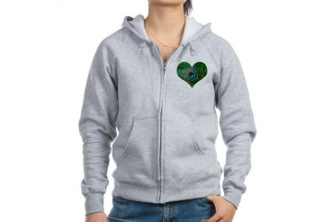 Sparkly Green Peacock Heart Animal Women's Zip Hoodie by CafePress